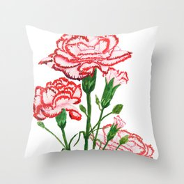 pink and red carnation watercolor painting Throw Pillow
