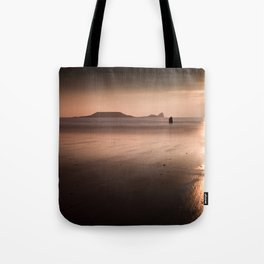 Sunset and wet sand at Worms Head, Gower, Wales Tote Bag