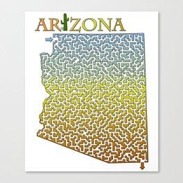 Arizona State Outline Desert Themed Maze & Labyrinth Canvas Print
