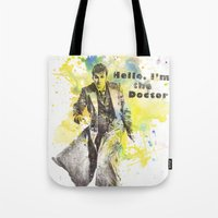 david tennant Tote Bags featuring Doctor Who 10th Doctor David Tennant by idillard