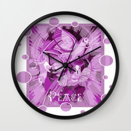 Dove With Celtic Peace Text In Pink Purple Tones Wall Clock
