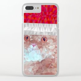 Red cat with christmas hat Clear iPhone Case