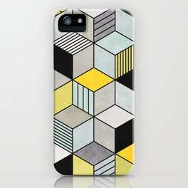 Colorful Concrete Cubes 2 - Yellow, Blue, Grey iPhone Case