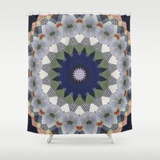 Patchwork Whimsy -- Vintage Block Quilt Mandala Kaleid0scope Shower Curtain
