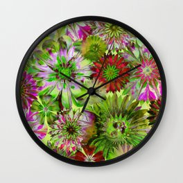 Rivalry of Flowers - green & red Wall Clock