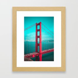 San Francisco Golden Gate Bridge Teal Skies Framed Art Print