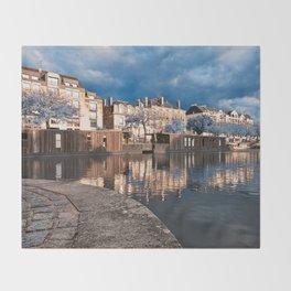 Nantes Riverside Scenery - Winter Blue Fantasy Throw Blanket