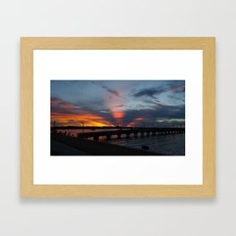Jensen Beach Fishing Pier at Sunset Framed Art Print