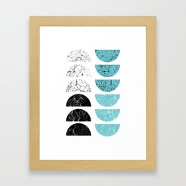 Marble Half-Moons in Tiffany Blue Framed Art Print