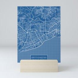 Santo Domingo City Map of Dominican Republic - Blueprint Mini Art Print