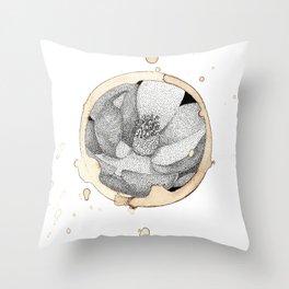 Coffee Stain Magnolia Flower-Louisiana Series Throw Pillow