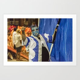 Painted Face Man at Inagural Parade of Carnival in Montevideo Art Print