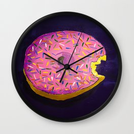 YELLOW CAKE DONUT WITH SPRINKLES Wall Clock