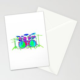 Colorful Drum Kit Stationery Cards