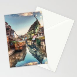 Colmar the Little Venice painting, French village Lauch river scenery, France nature, travel art pos Stationery Cards