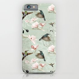 Vintage Watercolor hummingbird and Magnolia Flowers on mint Background iPhone Case