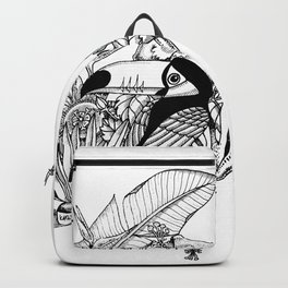 Costa Rica -Toucan with exotic flowers Backpack