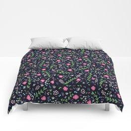 Blossoming flowers in an Italian garden Comforters