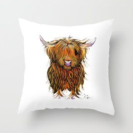 HiGHLaND CoW PRiNT SCoTTiSH ' HuMPHReY on WHiTe ' BY SHiRLeY MacARTHuR Throw Pillow