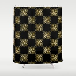 Luxe Gold Black Chess Board Style Pattern, Seamless Vector, Drawn Texture Shower Curtain