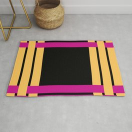 The intertwining pink and yellow ribbons Rug