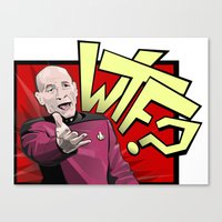 picard Canvas Prints featuring Wtf Picard by Slightly Absurd