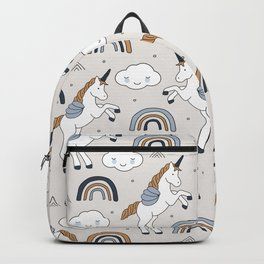 Unicorns and rainbow clouds sweet dreams kawaii kids pattern Backpack