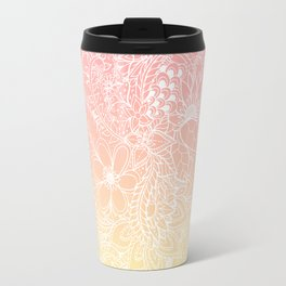 Spring summer fruity pink lemon yellow gradient floral illustration pattern Travel Mug