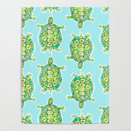 Tortoise Pattern with aqua background Poster
