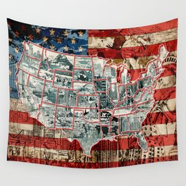 usa map urban city collage Wall Tapestry