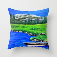 River bank with little old boat Throw Pillow