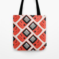 gameboy Tote Bags featuring Gameboy Color: Red (Pattern) by Zeke Tucker