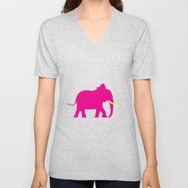 Pink Elephant On Black Unisex V-Neck
