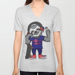 Skater Sloth Unisex V-Neck