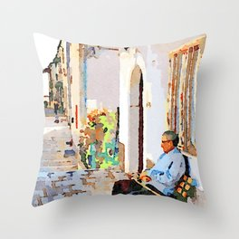 Borrello: senior citizen sitting on a bench outside the home Throw Pillow