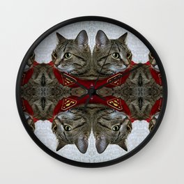 A portrait of a grey cat in a cape with a logo of Superman.  Wall Clock