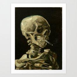 Skull of a Skeleton with Burning Cigarette - Van Gogh Art Print