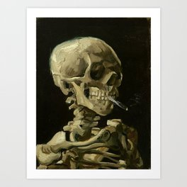 Skull of a Skeleton with Burning Cigarette - Van Gogh Art Print