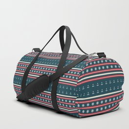 Ships Ahoy Blue/Red Stripe Duffle Bag