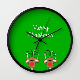 Merry Christmas Reindeer Green Wall Clock
