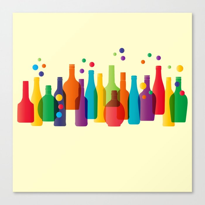 Colored bottles Canvas Print