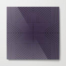Royal purple lines on mudcloth Metal Print