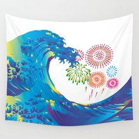 hokusai Wall Tapestries featuring Hokusai Rainbow & Fireworks  by FACTORIE