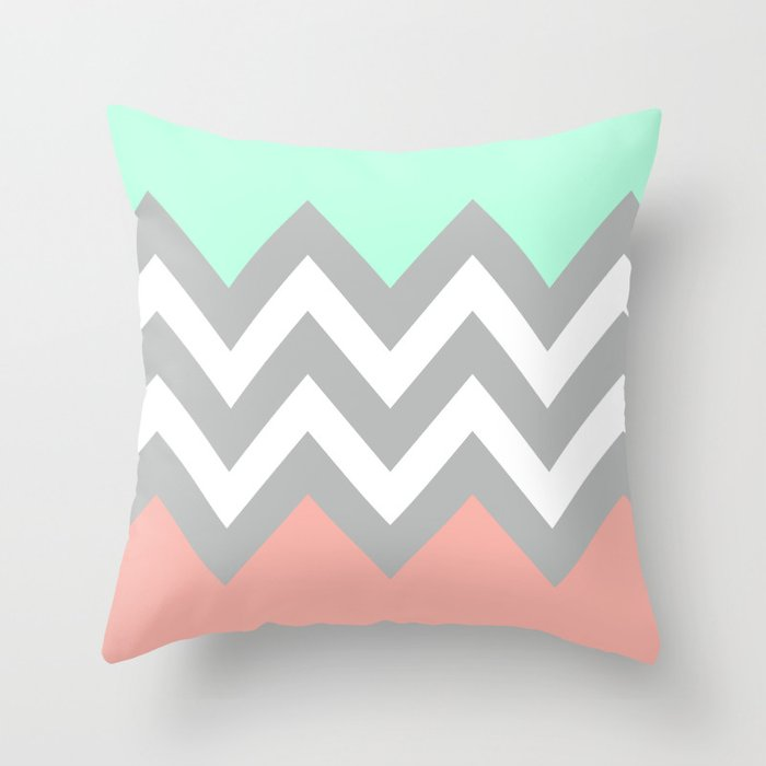 DOUBLE COLORBLOCK CHEVRON {MINT/CORAL/GRAY} Throw Pillow