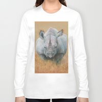 rhino Long Sleeve T-shirts featuring RHINO by Canisart