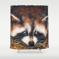 rocket raccoon Shower Curtains featuring Raccoon by Patrizia Ambrosini