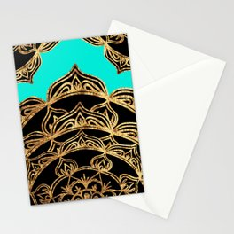 Gold Lace on Turquoise Stationery Cards