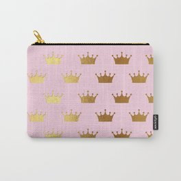 Gold Glitter effect crowns on pink - Royal Pattern for Princesses Carry-All Pouch
