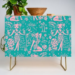 Tiki Temptress in Pink and Turquoise Credenza