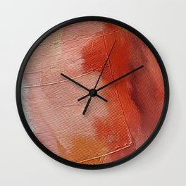 Desert Journey [1]: a textured, abstract piece in pinks, reds, and white by Alyssa Hamilton Art Wall Clock